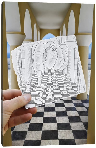 Pencil vs. Camera 37 - Checkmate Canvas Art Print