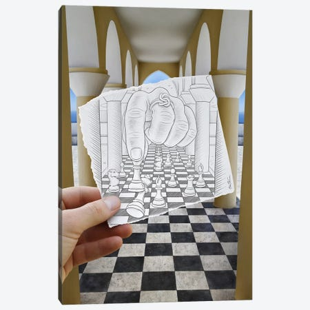 Pencil vs. Camera 37 - Checkmate Canvas Print #BHE25} by Ben Heine Canvas Wall Art