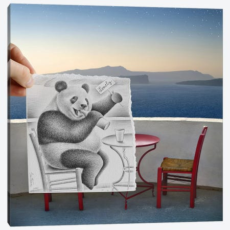 Pencil vs. Camera 41 - Lonely Panda Canvas Print #BHE27} by Ben Heine Canvas Artwork