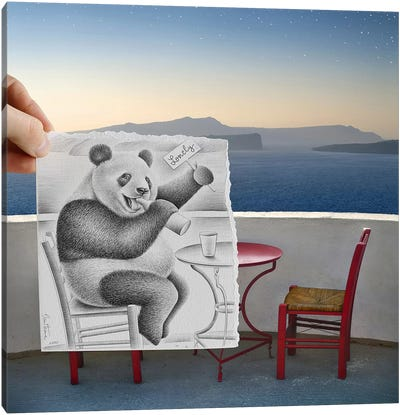 Pencil vs. Camera 41 - Lonely Panda Canvas Art Print