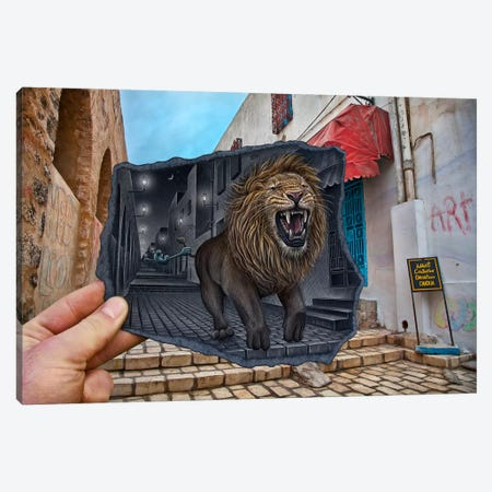 Pencil vs. Camera 63 - Mighty Lion Canvas Print #BHE32} by Ben Heine Canvas Art