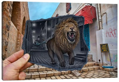 Pencil vs. Camera 63 - Mighty Lion Canvas Print #BHE32