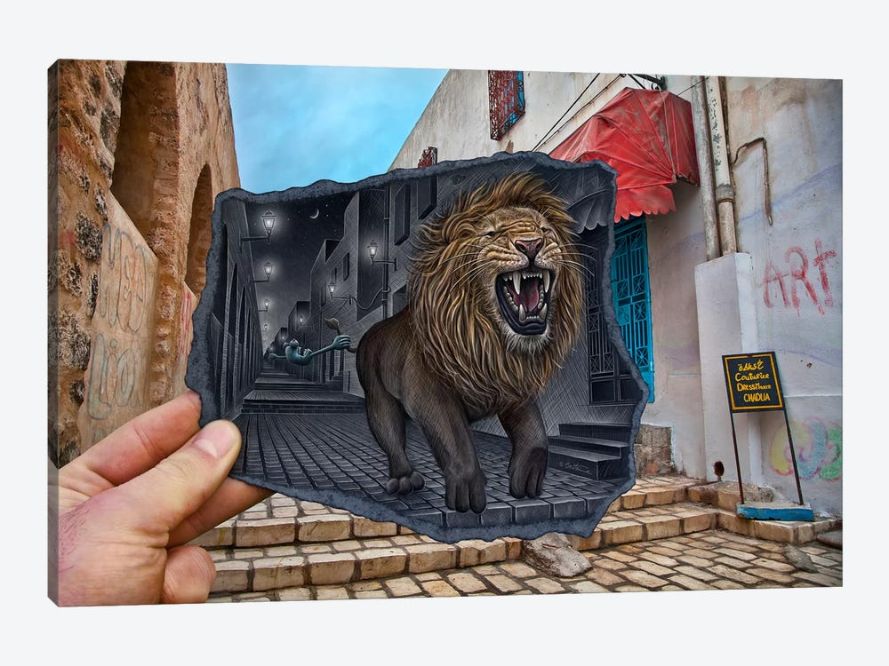 Pencil vs. Camera 63 - Mighty Lion by Ben Heine 1-piece Canvas Wall Art