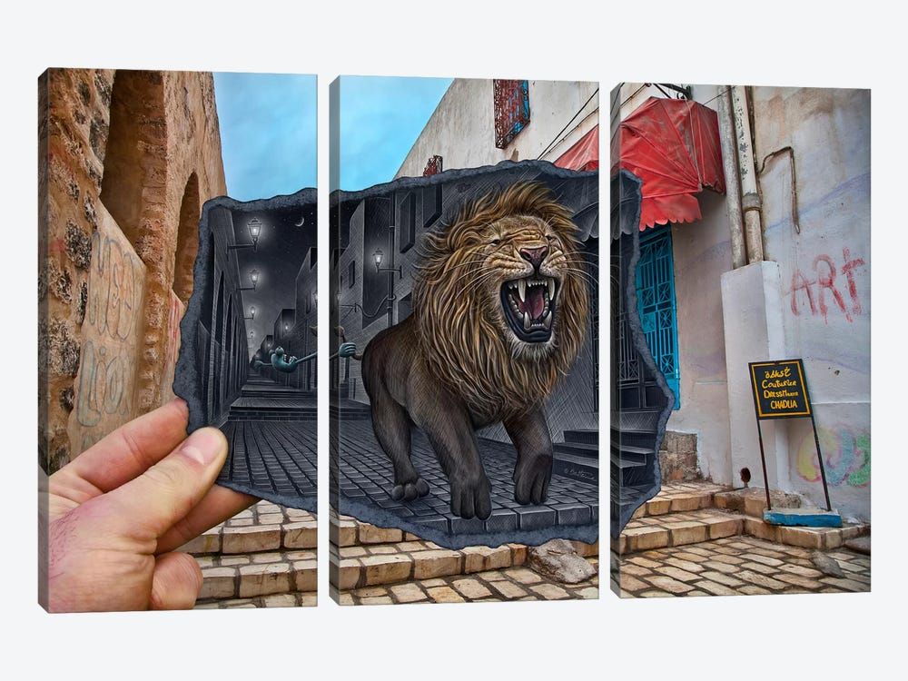 Pencil vs. Camera 63 - Mighty Lion by Ben Heine 3-piece Canvas Art