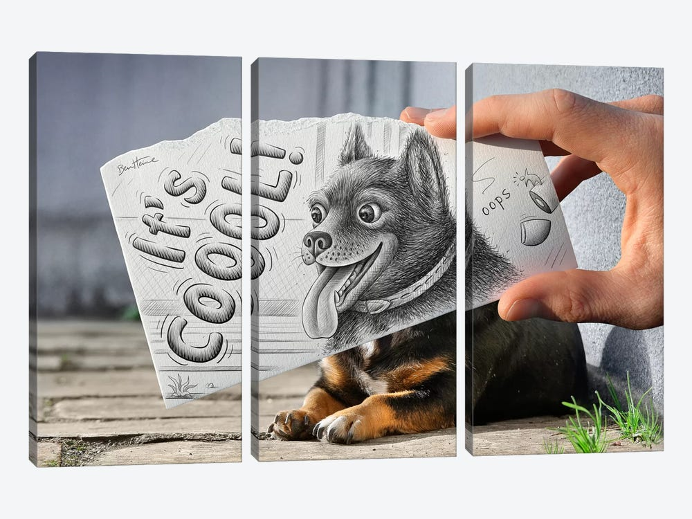 Pencil vs. Camera 65 - It's Cool by Ben Heine 3-piece Canvas Art Print