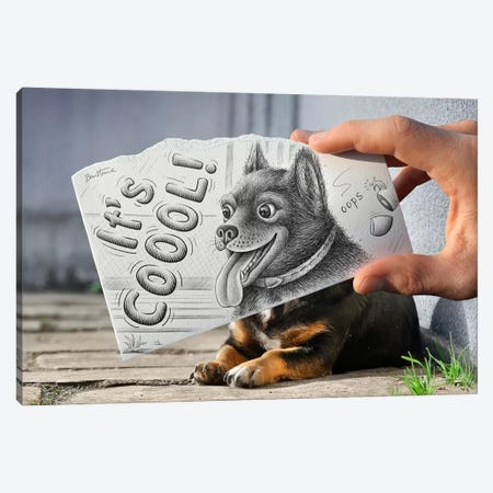 Pencil vs. Camera 65 - It's Cool Canvas Print #BHE33} by Ben Heine Canvas Wall Art