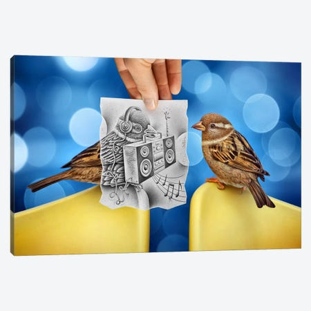 Pencil vs. Camera 66 - Electro Birds Canvas Print #BHE34} by Ben Heine Canvas Art Print