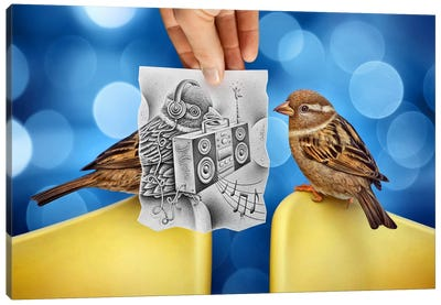 Pencil vs. Camera 66 - Electro Birds Canvas Art Print