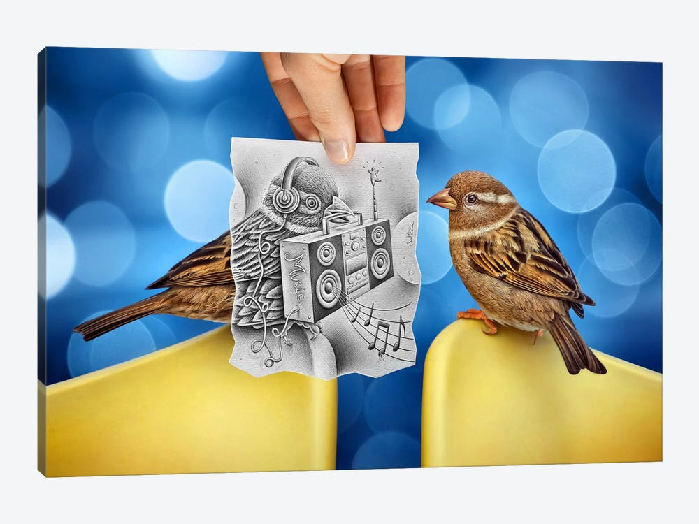 Pencil vs. Camera 66 - Electro Birds by Ben Heine 1-piece Canvas Artwork