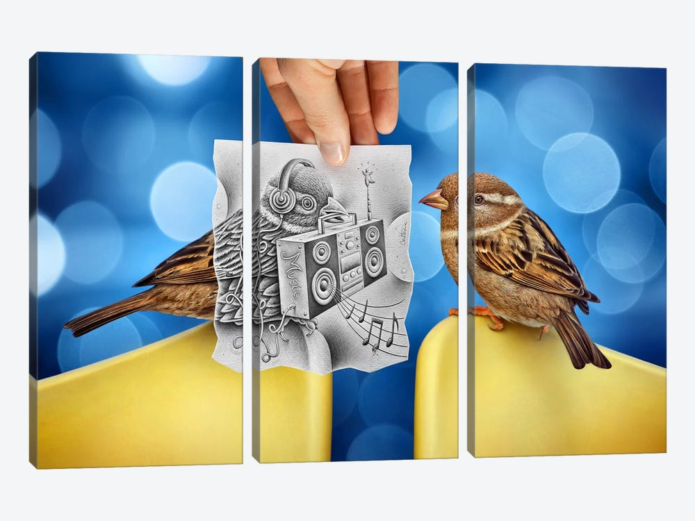 Pencil vs. Camera 66 - Electro Birds by Ben Heine 3-piece Canvas Art