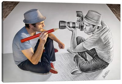 Pencil vs. Camera 73 - Illustrator Vs Photographer Canvas Art Print