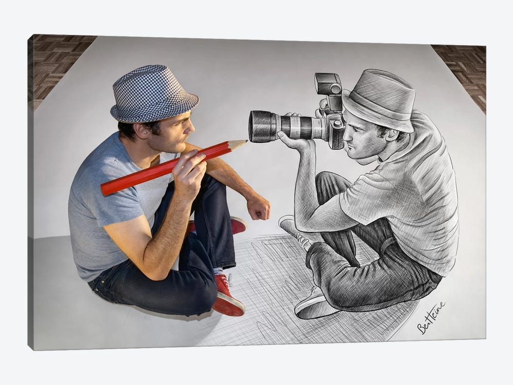 Pencil vs. Camera 73 - Illustrator Vs Photographer by Ben Heine 1-piece Canvas Wall Art