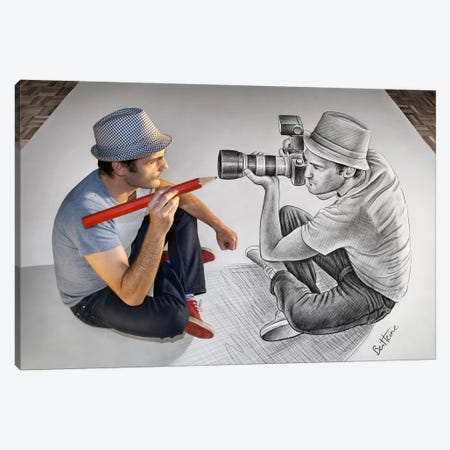Pencil vs. Camera 73 - Illustrator Vs Photographer 3-Piece Canvas #BHE36} by Ben Heine Canvas Print