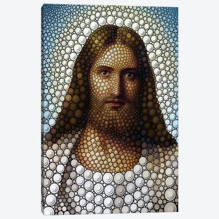 Digital Circlism Series: Jesus Canvas Print #BHE46} by Ben Heine Canvas Wall Art