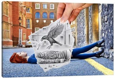 Pencil vs. Camera 57 - Crow Canvas Print #BHE48