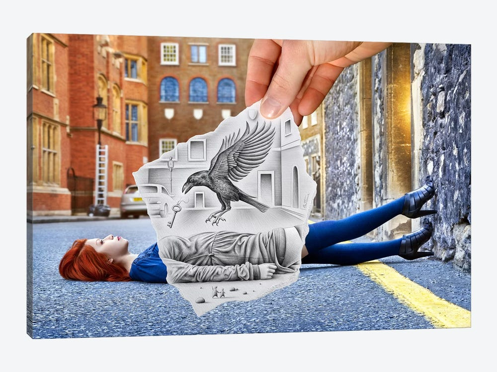 Pencil vs. Camera 57 - Crow by Ben Heine 1-piece Canvas Print