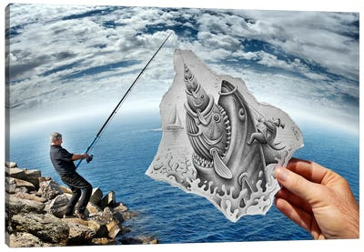 Pencil vs. Camera 59 - Shark Canvas Art Print