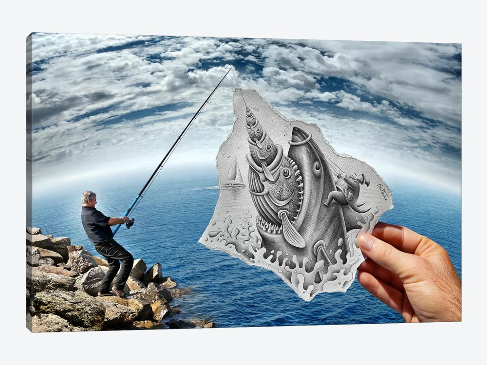 Pencil vs. Camera 59 - Shark by Ben Heine 1-piece Canvas Print