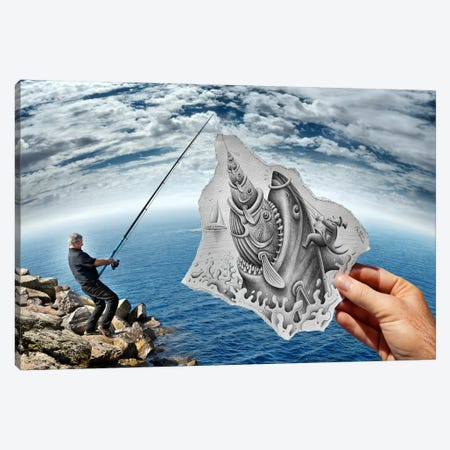 Pencil vs. Camera 59 - Shark Canvas Print #BHE51} by Ben Heine Canvas Wall Art