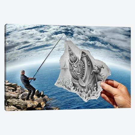 Pencil vs. Camera 59 - Shark Canvas Print #BHE51} by Ben Heine Canvas Wall Art