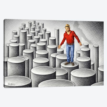 Pencil vs. Camera - 75 - Cylinders 3-Piece Canvas #BHE56} by Ben Heine Canvas Print