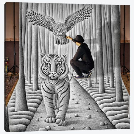 Pencil vs. Camera 74 (In The Making) Canvas Print #BHE57} by Ben Heine Canvas Art Print
