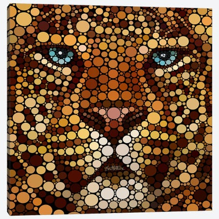 Digital Circlism Series: Leopard Canvas Print #BHE5} by Ben Heine Canvas Artwork