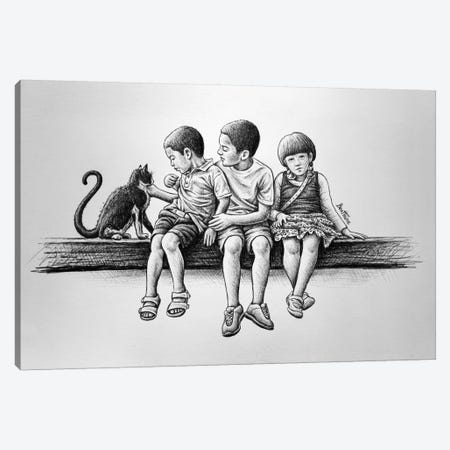 Children With Cat Canvas Print #BHE70} by Ben Heine Canvas Artwork