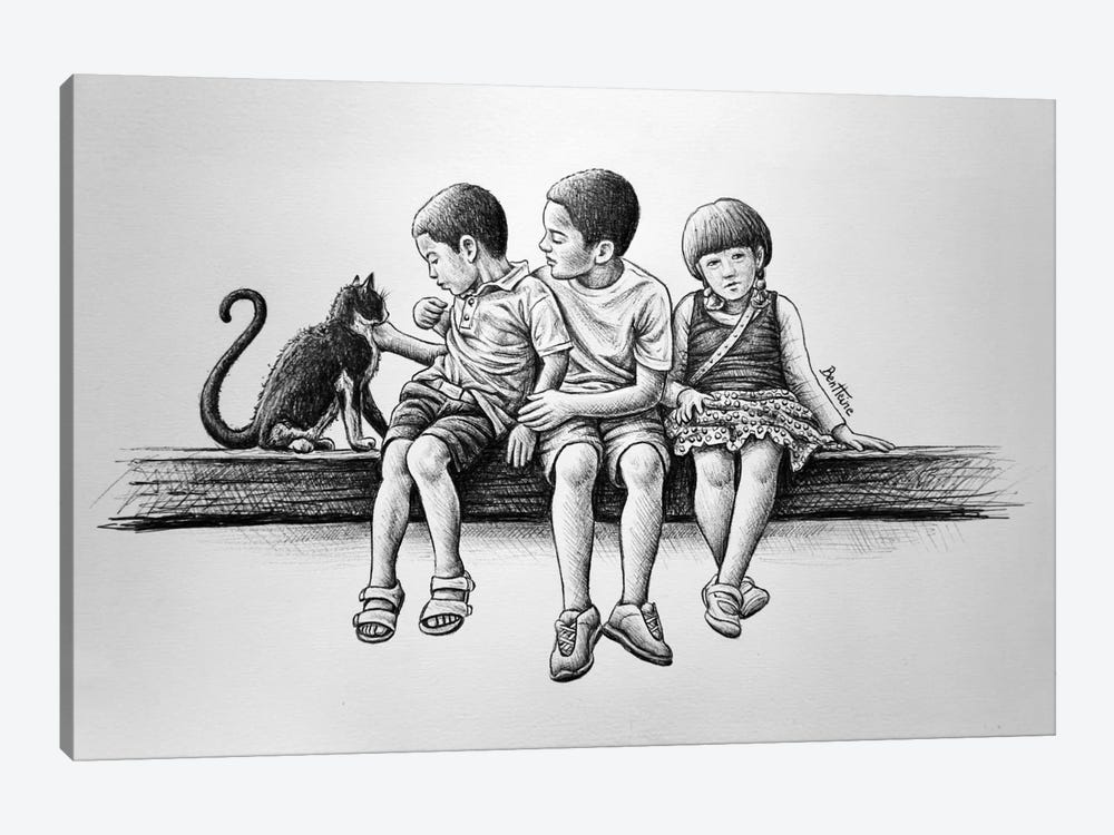 Children with Cat 1-piece Canvas Wall Art