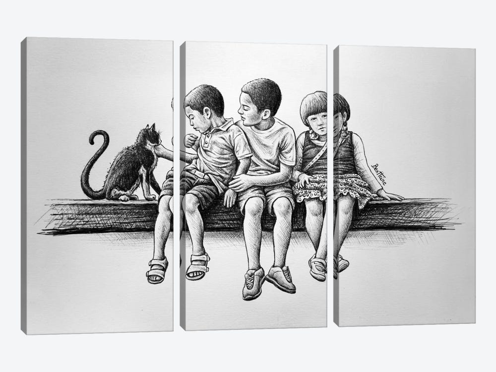 Children with Cat 3-piece Canvas Artwork