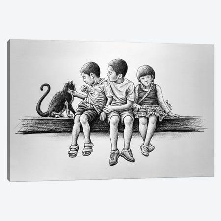 Children With Cat Canvas Print #BHE70} by Ben Heine Canvas Artwork