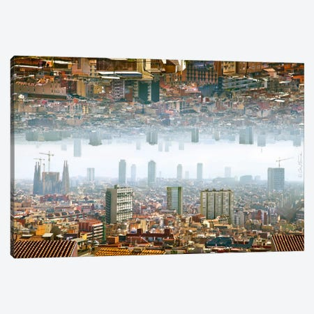 Barcelona Double Landscape Canvas Print #BHE82} by Ben Heine Art Print