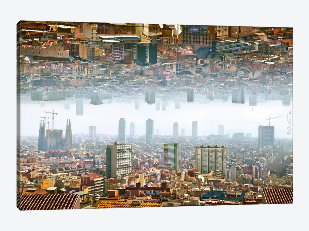 Barcelona Double Landscape by Ben Heine 1-piece Canvas Art Print