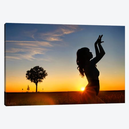 Sunset Woman Canvas Print #BHE83} by Ben Heine Art Print