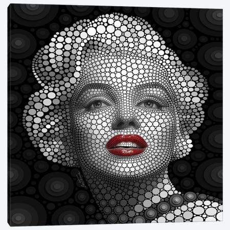 Digital Circlism Series: Marilyn Monroe Canvas Print #BHE8} by Ben Heine Canvas Print