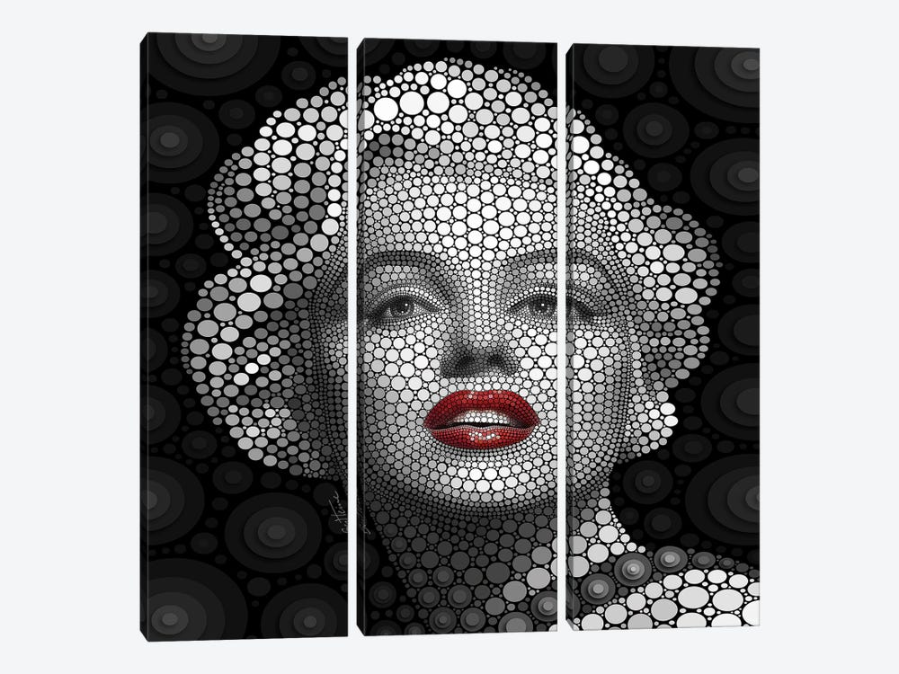 Digital Circlism Series: Marilyn Monroe 3-piece Art Print