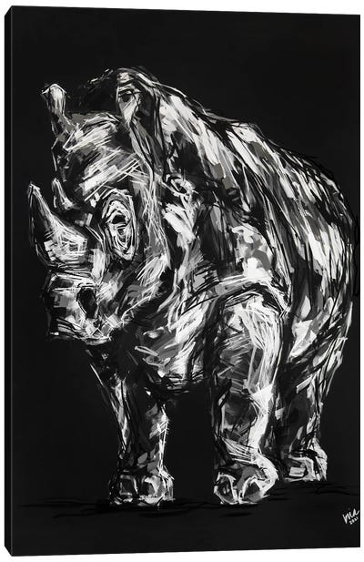 Reginald The Rhino Canvas Art Print
