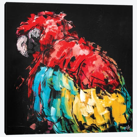 Rico The Macaw Canvas Print #BHM35} by Bria Hammock Art Print