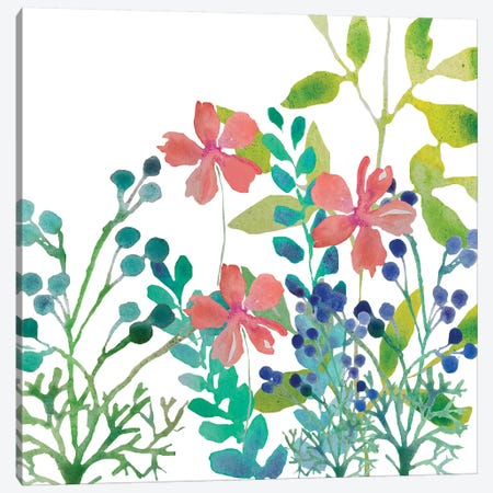 Flowers Square Canvas Print #BHS25} by Boho Hue Studio Canvas Wall Art