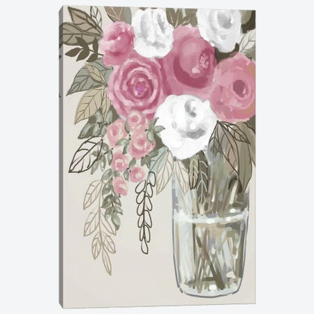 Soft Pink Florals I Canvas Print #BHS27} by Boho Hue Studio Canvas Artwork
