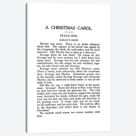 A Christmas Carol By Charles Dickens Book Page Canvas Print #BIB1} by Bibliotography Canvas Art Print