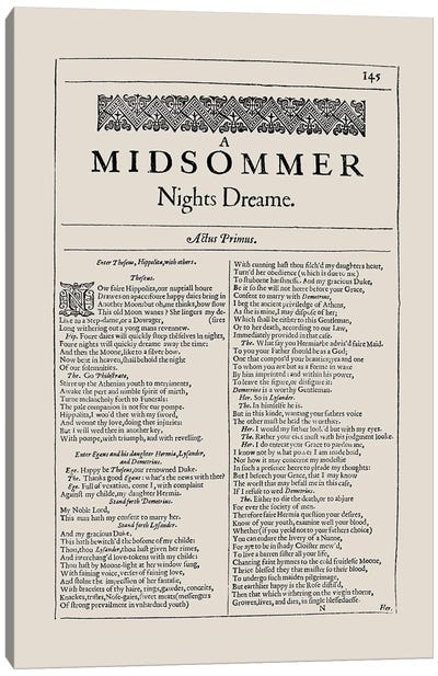 A Midsummer Night's Dream First Folio Page In Almond Canvas Art Print