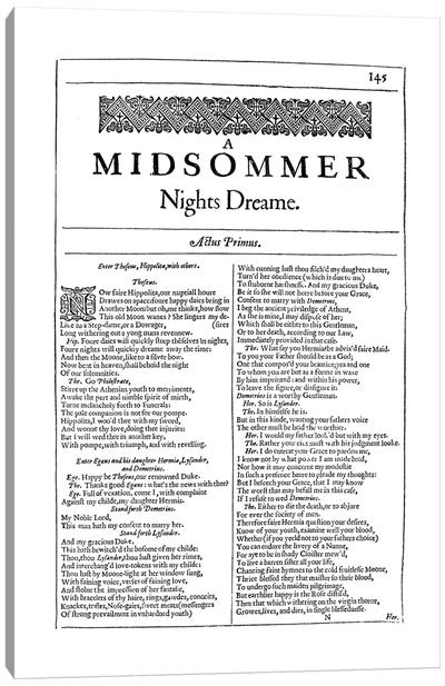 A Midsummer Night's Dream First Folio Page In White Canvas Art Print
