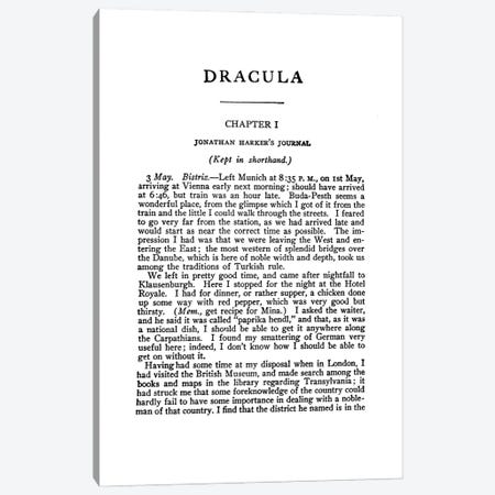 Dracula By Bram Stoker Book Page Canvas Print #BIB22} by Bibliotography Art Print
