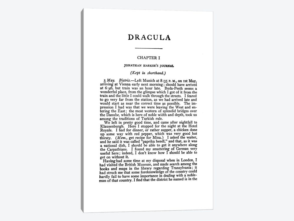 Dracula By Bram Stoker Book Page by Bibliotography 1-piece Canvas Art