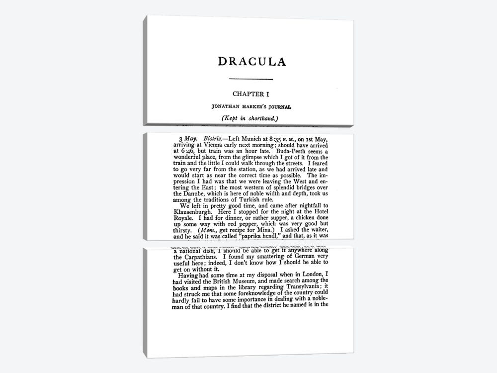 Dracula By Bram Stoker Book Page by Bibliotography 3-piece Canvas Wall Art