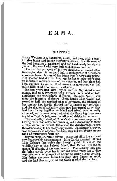 Emma By Jane Austen Book Page Canvas Art Print