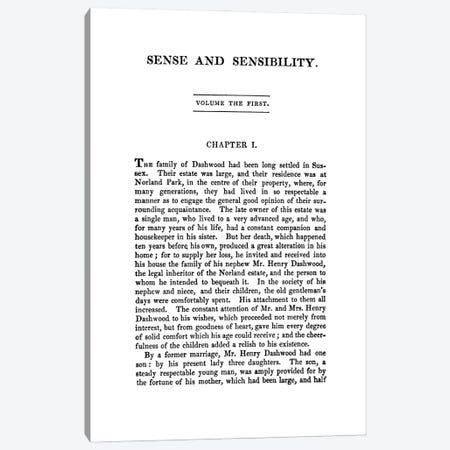 Sense And Sensibility By Jane Austen Canvas Print #BIB25} by Bibliotography Canvas Artwork