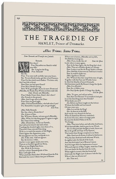Hamlet First Folio Page In Almond Canvas Art Print