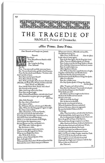 Hamlet First Folio Page In White Canvas Art Print